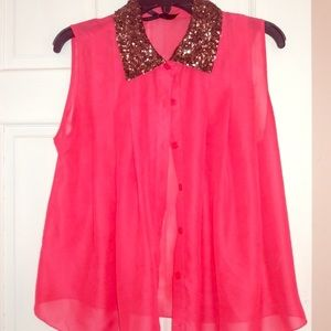 3 for $15 Sale Sleeveless Blouse w/Sparkle Collar